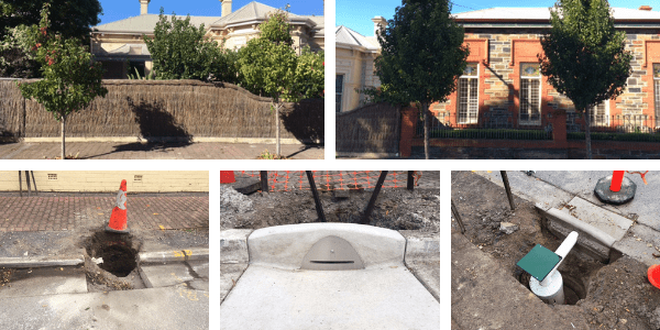 Bristol Street TREENET inlets and infiltration pits. Image: City of Holdfast Bay
