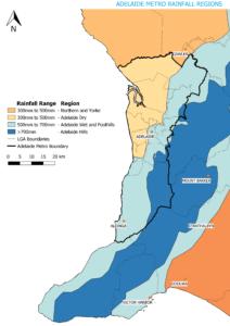 Rainfall regions for the Adelaide metropolitan area