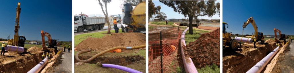 Glenelg Adelaide Pipeline. Images (L-R): SA Water, SADB, SADB, SA Water
