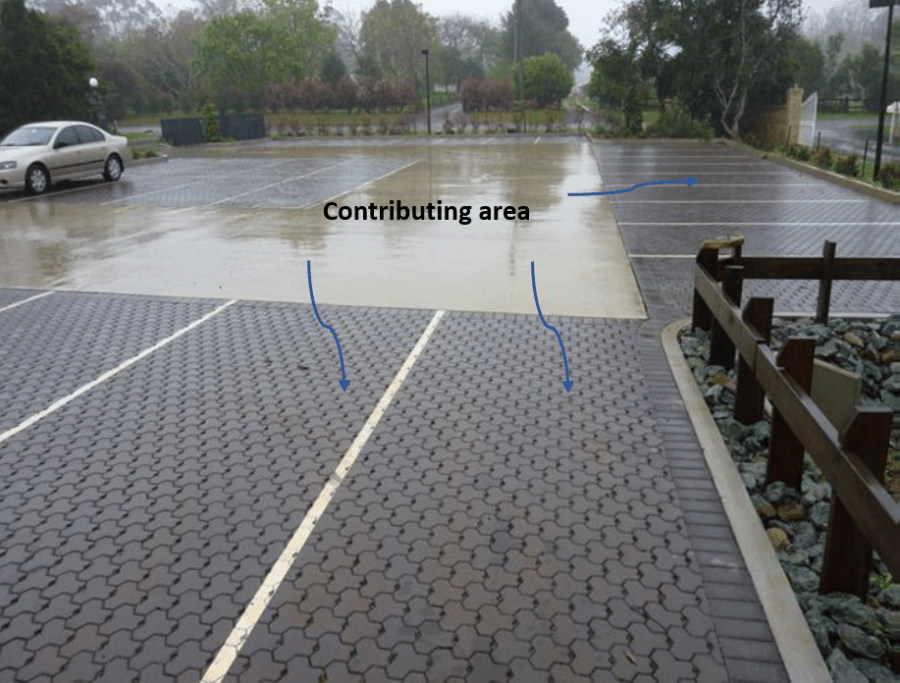 Ratio of contributing impervious areas : permeable paving area | No greater than 4: 1. Image: Concrete Masonry Association of Australia