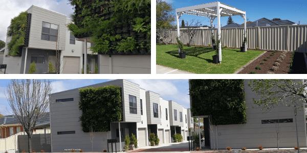 St Bernards Road green walls, and rainwater harvesting and reuse. Photos: Water Sensitive SA