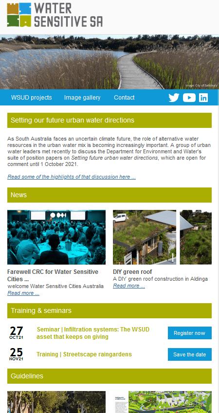 Water Sensitive SA eNews, September 2021